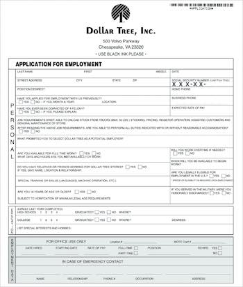 Dollar Tree PDF job application online